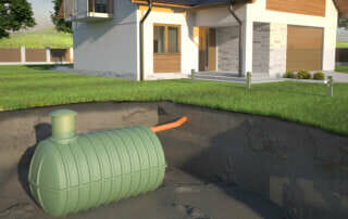 Underground septic tank and house - 3d Illustration
